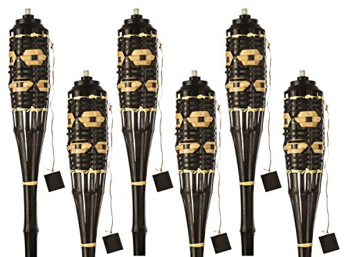 Brown/Natural Weave Bamboo Torches; Decorative Torches with Fiberglass Wicks