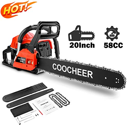 attempting 58CC Gas Engine 20 Inch Guide Board Chainsaw 2 Stroke Gasoline