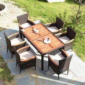 Tangkula 7 PCS Outdoor Patio Dining Set, Garden Dining Set