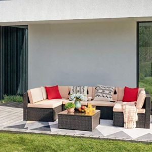 Devoko 7 Pieces Outdoor Sectional Sofa All-Weather Patio Furniture Sets