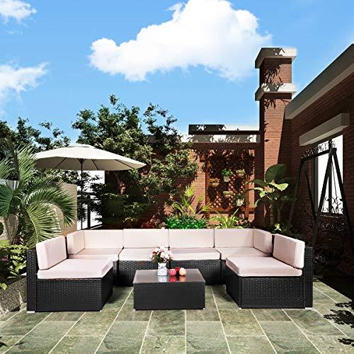 U-MAX 7 Pieces Patio PE Rattan Wicker Sofa Set Outdoor Sectional Furniture