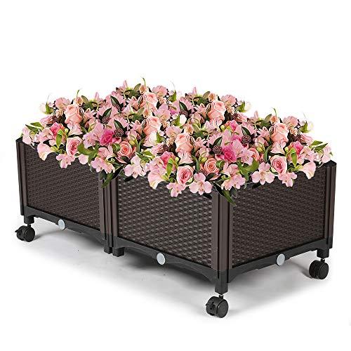 GROWNEER 2 Packs Plastic Wheeled Garden Bed Assemble Elevated Planter Kit
