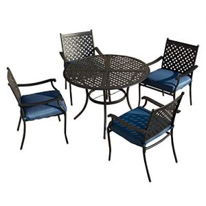 LOKATSE HOME 5 Piece Outdoor Patio Metal Dining Set with 4 Iron Arm Chairs