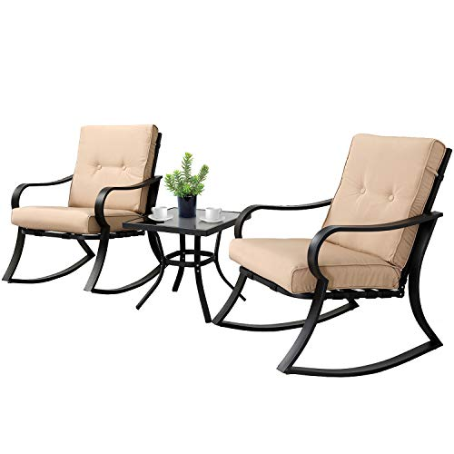 SOLAURA 3-Piece Outdoor Rocking Chairs Bistro Set, Black Steel Patio Furniture