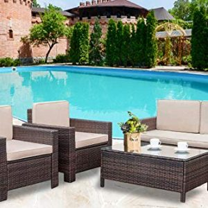 Patio Sofa Set 4pcs Outdoor Furniture Set PE Rattan Wicker Cushion Outdoor