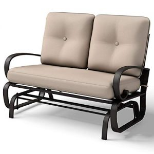 Giantex Loveseat Outdoor Patio Rocking Glider Cushioned 2 Seats Steel Frame