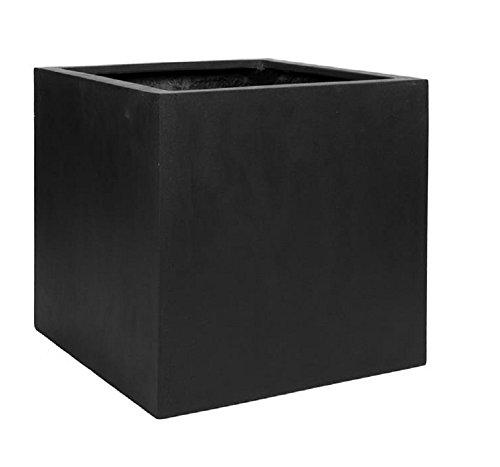 Black Square Large Planter Box - Indoor Outdoor Pot - Elegant Cube Shaped