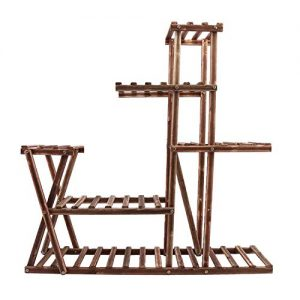 Lehom Wood Plant Stands Indoor 5 Tier Flower Pot Stand Carbonized Wooden Plant