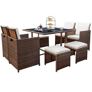 Devoko 9 Pieces Patio Dining Sets Outdoor Space Saving Rattan Chairs