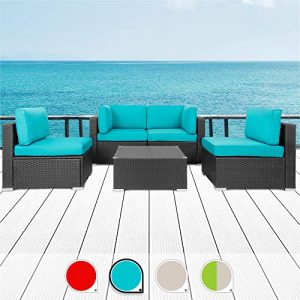 Walsunny 5pcs Patio Outdoor Furniture Sets,Low Back All-Weather Rattan