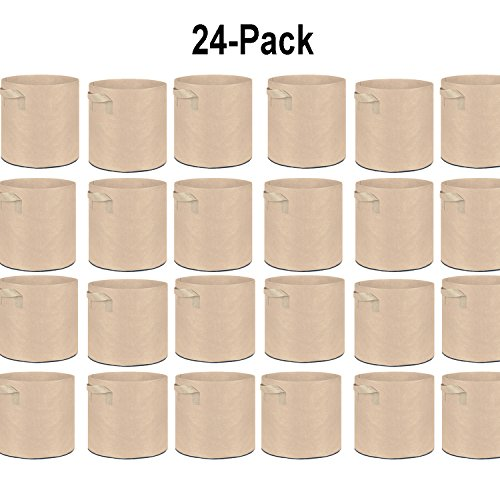 TopoGrow 24-Pack 20 Gallon Grow Bags Tan Fabric Round Aeration Pots Container