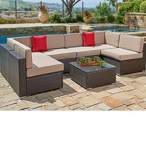 SUNCROWN Outdoor Patio Furniture 7-Piece Wicker Sofa Set