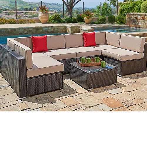 SUNCROWN Outdoor Patio Furniture 7-Piece Wicker Sofa Set