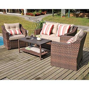 SUNSITT 4-Piece Patio Conversation Set All Weather Woven Brown Wicker
