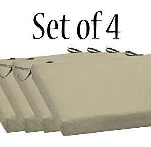 Comfort Classics Inc. Outdoor/Indoor Beige seat pad Set of 4 Chair Cushion