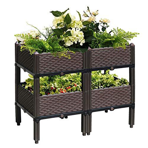 Reliancer Set of 4 Raised Garden Beds w/Brackets Elevated Garden Bed Kit