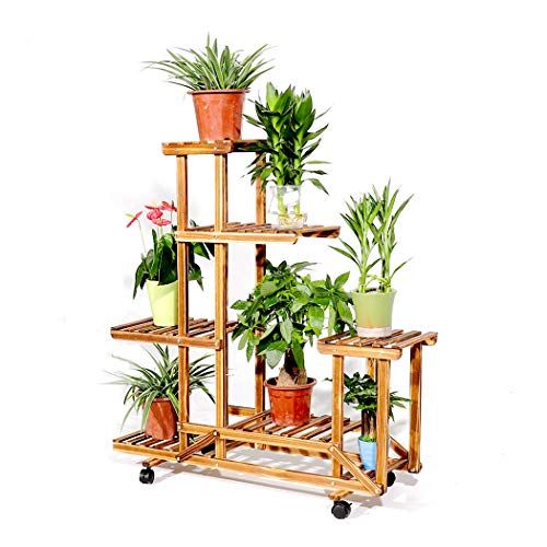 Rolling Plant Stand with Wheels Natural Wood 6 Tier Plant Shelf Indoor Outdoor