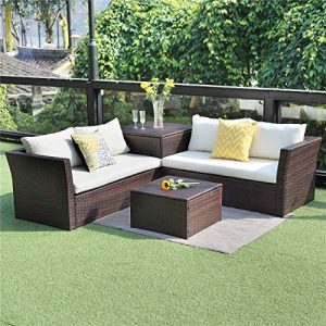 Wisteria Lane Outdoor Patio Furniture Set, 4 Piece Sectional Sofa Couch