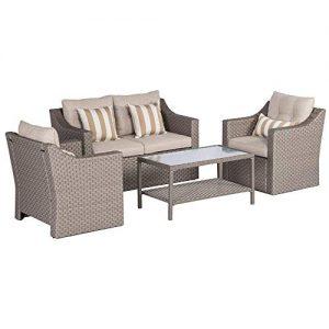 SOLAURA Outdoor Patio Furniture Set 5-Piece Conversation Set Gray Wicker