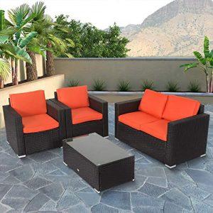 Kinbor 4 PCs Rattan Patio Outdoor Furniture Set Garden Lawn Sofa Sectional Set