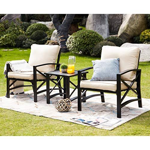 LOKATSE HOME 3 Piece Patio Conversation Set Outdoor Furniture