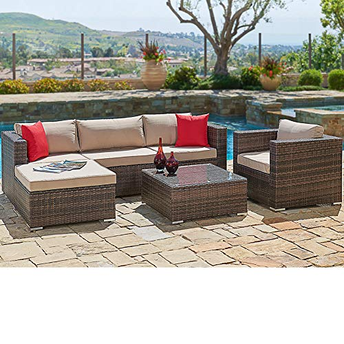 SUNCROWN Outdoor Patio Furniture Sectional Sofa and Chair (6-Piece Set)