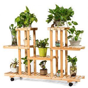 Giantex Rolling Flower Rack Wood Plant Stand on Wheels 6 Wood Shelves
