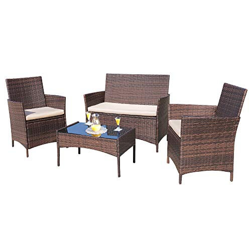 Homall 4 Pieces Outdoor Patio Furniture Sets Rattan Chair Wicker Set