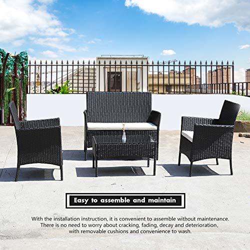 DIMAR garden 4 Piece Outdoor Rattan Patio Furniture Sectional Chair