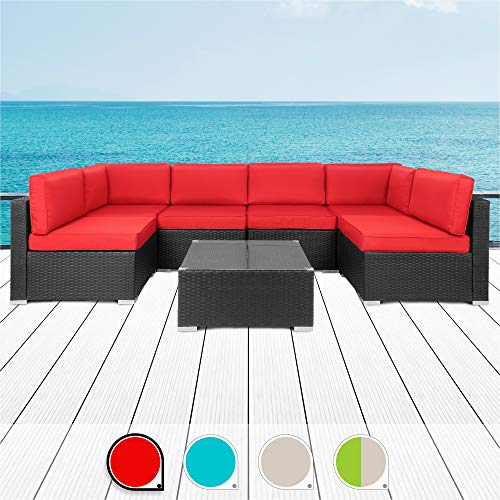 Walsunny 7pcs Patio Outdoor Furniture Sets,Low Back All-Weather Rattan Sectional