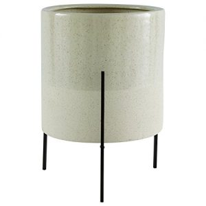 """Rivet Mid-Century Ceramic Planter with Iron Stand, 17""""H, Pale Green"""