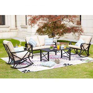 LOKATSE HOME 5Pcs Patio Furniture Conversation Bistro Sets Loveseat and 2 Coffee
