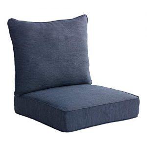 Allen roth 2-Piece Madera Linen Navy Deep Seat Patio Chair Cushion
