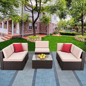Devoko Patio Furniture Sets 6 Pieces Outdoor Sectional Rattan Sofa