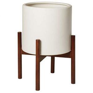 Rivet Surrey Modern Ceramic Planter Pot with Wood Plant Stand