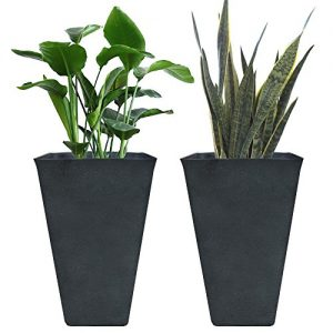 Tall Planters 26 Inch, Flower Pot Pack 2, Patio Deck Indoor Outdoor Garden