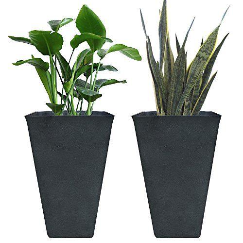 Tall Planters 26 Inch, Flower Pot Pack 2, Patio Deck Indoor Outdoor Garden