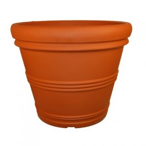 Tusco Products Rolled Rim Garden Pot, 24.5-Inch, Terra Cotta Color.