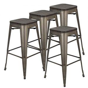 Bonzy Home Metal Bar Stools Set of 4, 30 inches Indoor Outdoor Bar Stools
