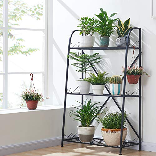 FaithLand 3-Tier Indoor/Outdoor Metal Plant Stand, Flower Pots Holder