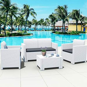 Tangkula 4-Piece Patio Furniture Set, Made in Italy Outdoor Wicker Conversation Set