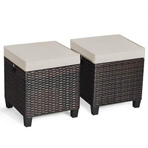 Tangkula 2 Pieces Outdoor Patio Ottoman, All Weather Rattan Wicker Ottoman Seat