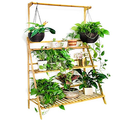 Moutik Bamboo Flower Display Stand:Plants Pots 3 Tier with Hanging Planter