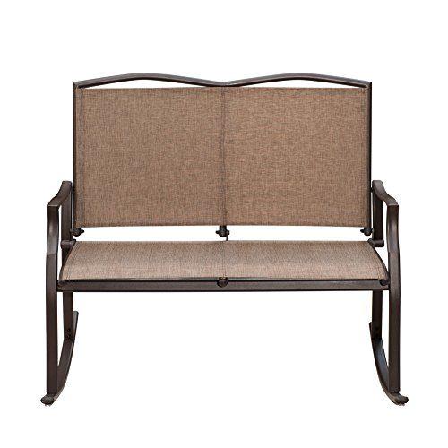 SunLife Outdoor Sling Rocking Chair Built for 2, Loveseat, Bench, Patio, Garden