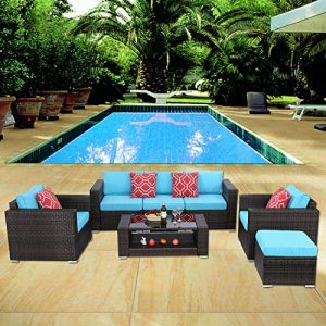 HTTH 7 Pieces Outdoor Patio Rattan Sofa Wicker Sets with Washable Cushions
