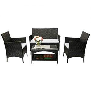 Merax 4 Piece Outdoor Patio PE Rattan Wicker Garden Lawn Sofa Seat Patio