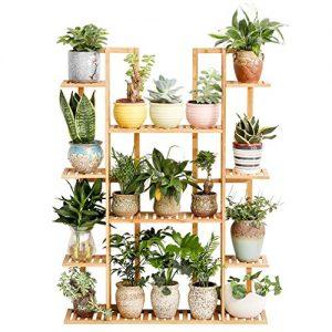 Bamboo 9 Tier 17 Potted Plant Stand Rack Multiple Flower Pot Holder Shelf Indoor