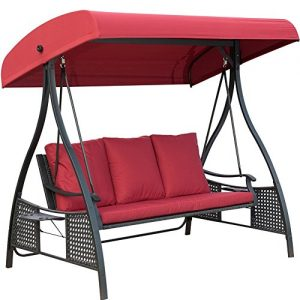 PatioPost Outdoor Swing Chair, Seats 3 Porch Patio Swing Glider