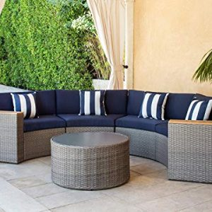 SOLAURA Outdoor 5-Piece Sectional Furniture Patio Half-Moon Set Gray Sofa