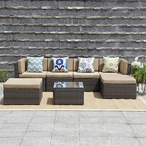 Wisteria Lane Outdoor Furniture 7 Piece Patio Wicker Sofa Set Washable Seat